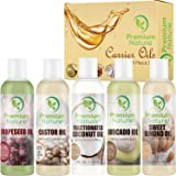 Carrier Oils For Essential Oil - 5 Piece Variety Pack Gift Set Coconut Oil Castor Oil Grapeseed Oil Avocado Oil & Sweet Almond Best Oils for Stretch Mark Dry Skin Hair Body Massage Mixing 4oz Each (Tamaño: 4 oz each)