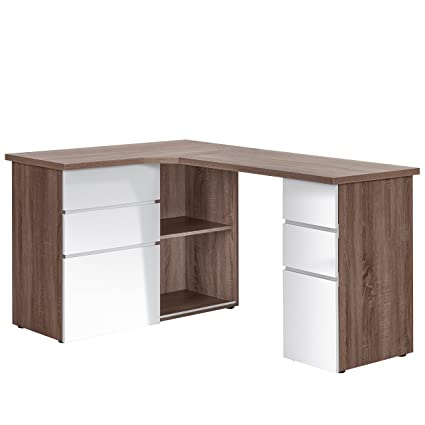 Antti Writing Desk With One Sliding Door and Height Adjustable Shelves Fits Perfectly In Any Room Corner (Rough-cut truffle oak and white high gloss)