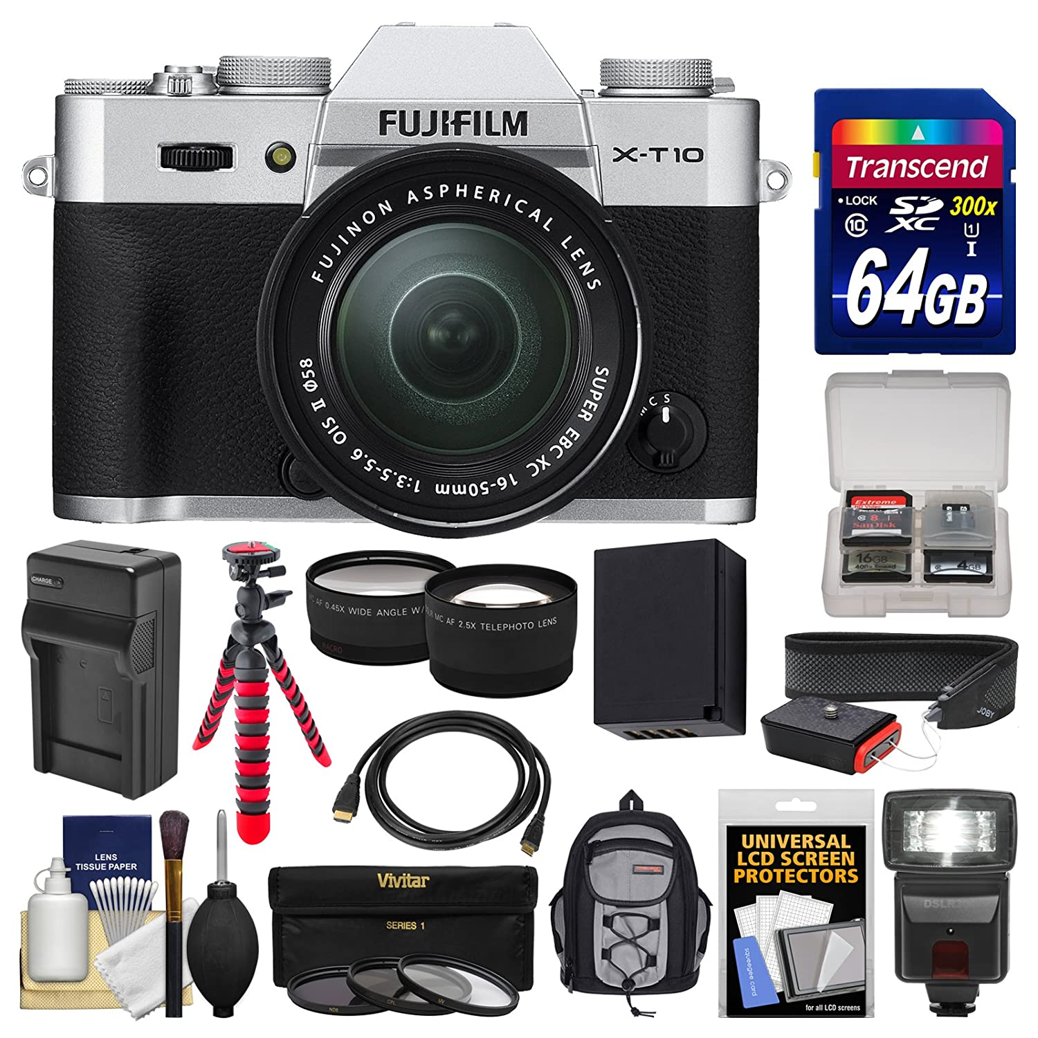 Fujifilm X-T10 Digital Camera & 16-50mm II XC Lens (Silver) with 64GB Card + Backpack + Flash + Battery & Charger + Tripod + Tele/Wide Lens Kit