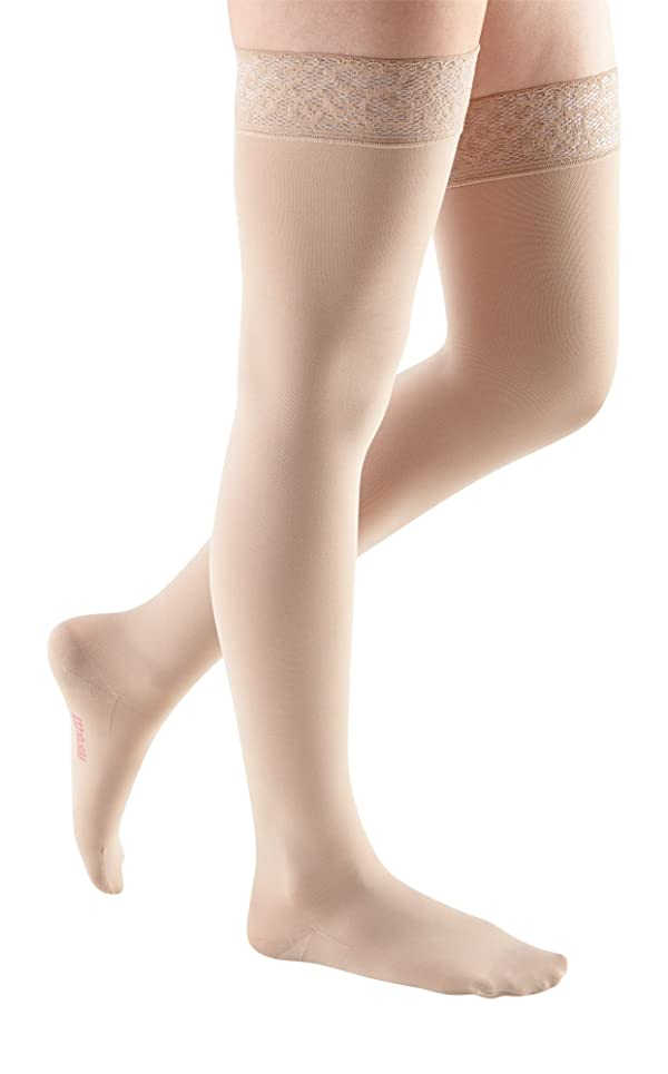mediven Comfort, 20-30 mmHg, Thigh High Compression Stockings w/Lace Top-Band, Closed Toe (Color: Sandstone, Tamaño: II - Petite)