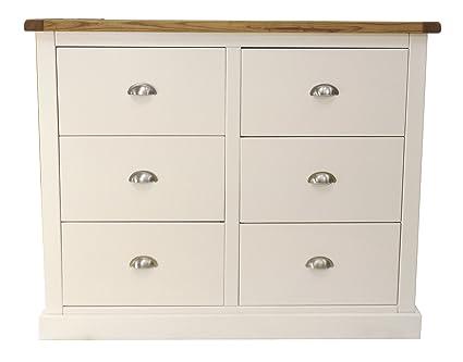 """Kabinett Bits """"Floral"""" 3plus Kommode mit 3Schubladen, mit Chrom Griff/quadratisch Rock, Holz, Weiß"""