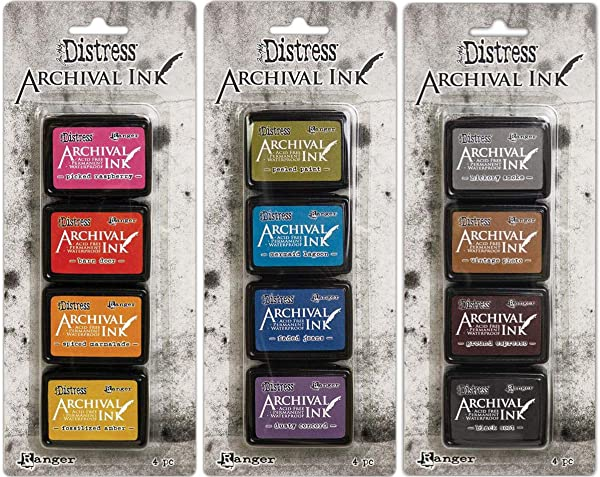 Tim Holtz Distress Archival Mini Ink Kits - Kit #1, Kit #2 and Kit #3 - 12 Mini Ink Pads - 3 Item Bundle