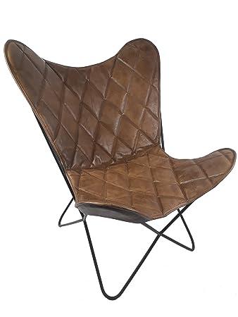 Vintage Sessel Butterfly Argyle Loungesessel Leder Raute
