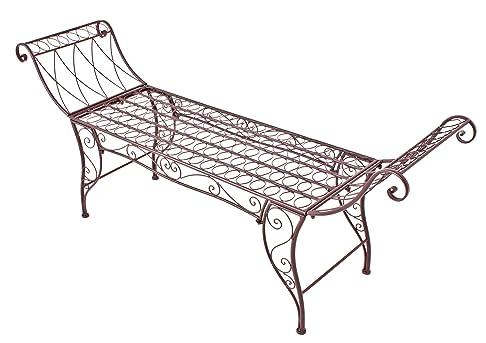 Jardinion Panchina da giardino, panchina, resto del braccio, patina sguardo, Ferro, Albero, English Garden, Design marrone ST