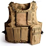 Solomone Cavalli Tactical Molle Combat Vest Airsoft camouflage Police Fully adjustable (Color: Tan)