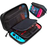 ButterFox Carrying Case Stand Compatible with Nintendo Switch with 19 Game card holders - Black (Color: black)
