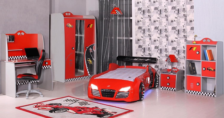 Bett Kind Kinderzimmer Autobett Kinderbett Auto – Kleiderschrank Bett Nachttisch Schreibtisch (rot) günstig online kaufen