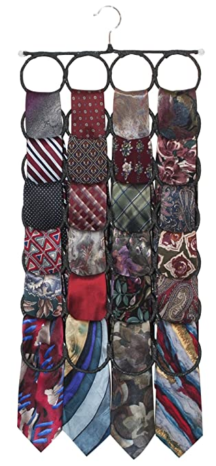 Tie-Scarf Rack Closet Door Organizer, the No Snags Best Space Saving for Infinity Scarves and Ties