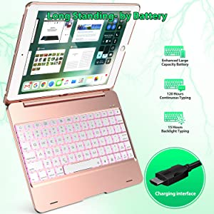 6th Gen Rotating Hinge and Adjustable Backlight iPad Pro 9.7 and iPad Air 1 and 2 Features Detachable Design 5th Gen iPad 2017 Keyboard Case Compatible with iPad 2018 Rose Gold