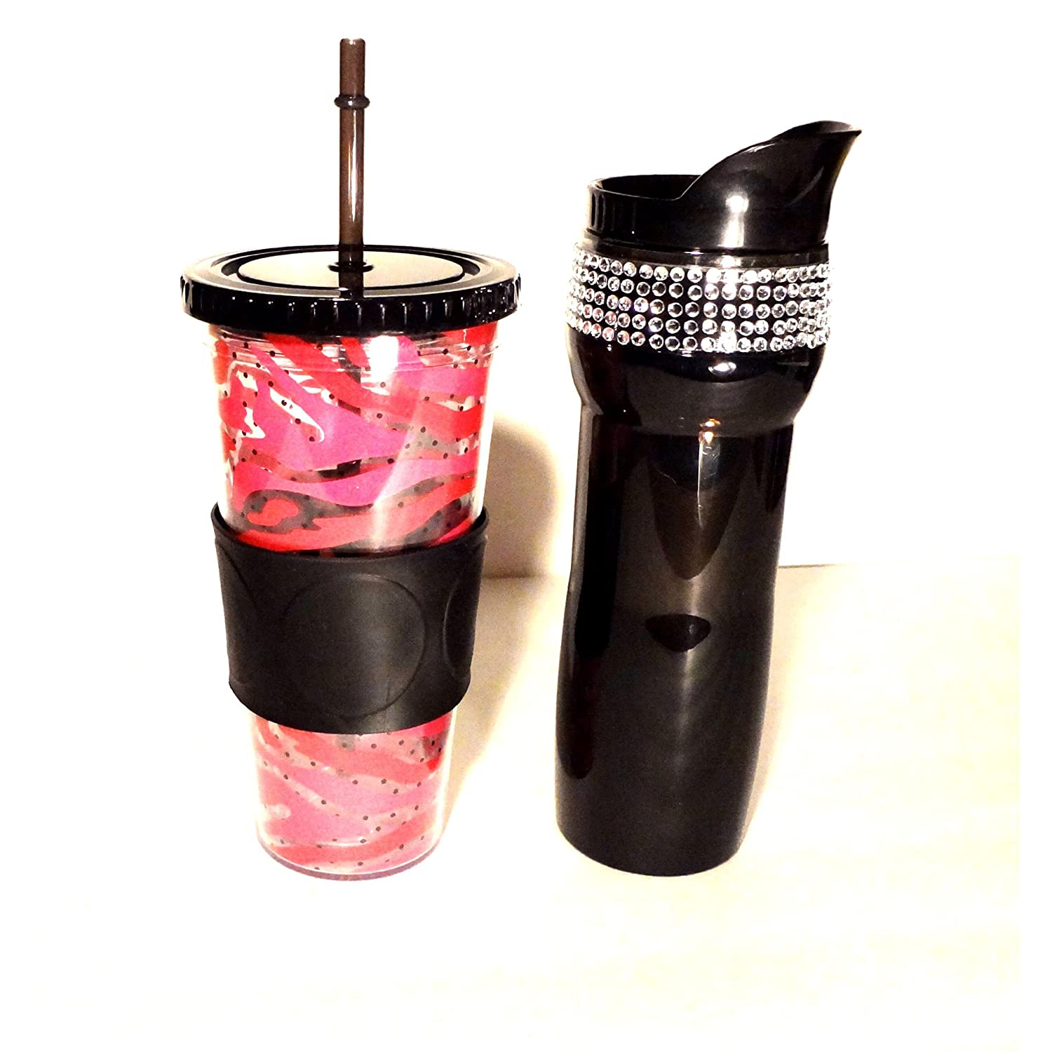 Hot Cold Travel Beverage Set 15oz Black Bling Mug