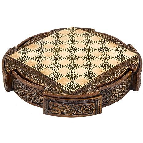Isle De Lewis Compact Celtique Jeu D'échecs Set 22.9cm