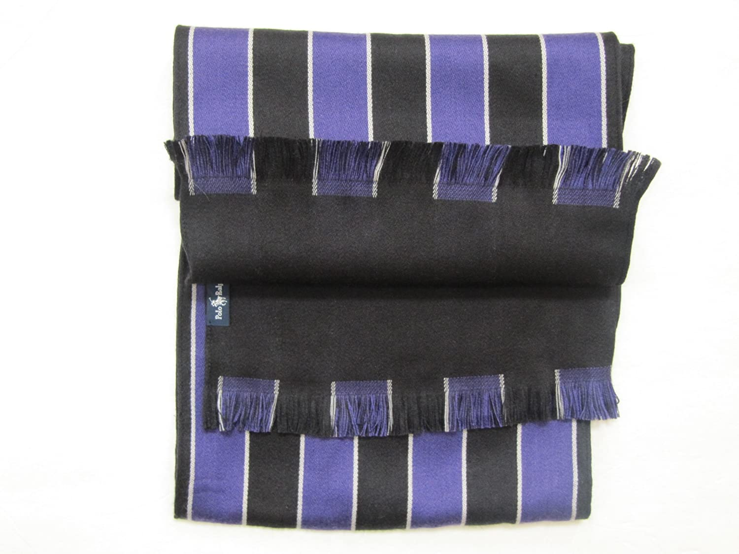 Мужской модный шарф Polo Ralph Lauren Wool/silk Scarf Unisex/adult Purple & Black Stripes