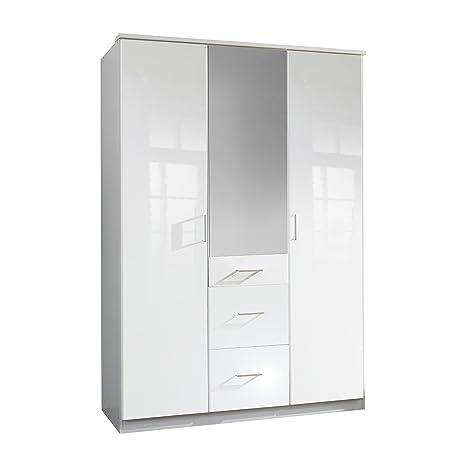 Wimex 243629 Clack Armoire 3 Portes Battantes avec Miroir Bois Blanc/Laqué Blanc Cassé 58 x 135 x 198 cm