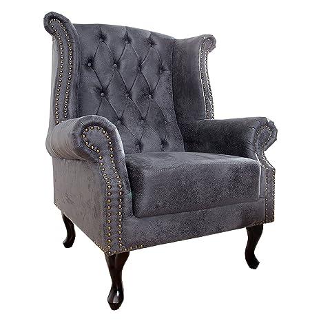 Edler Chesterfield Ohrensessel antik grau mit Knopfheftung und Nietenbesatz Sessel Clubsessel Wohnzimmersessel