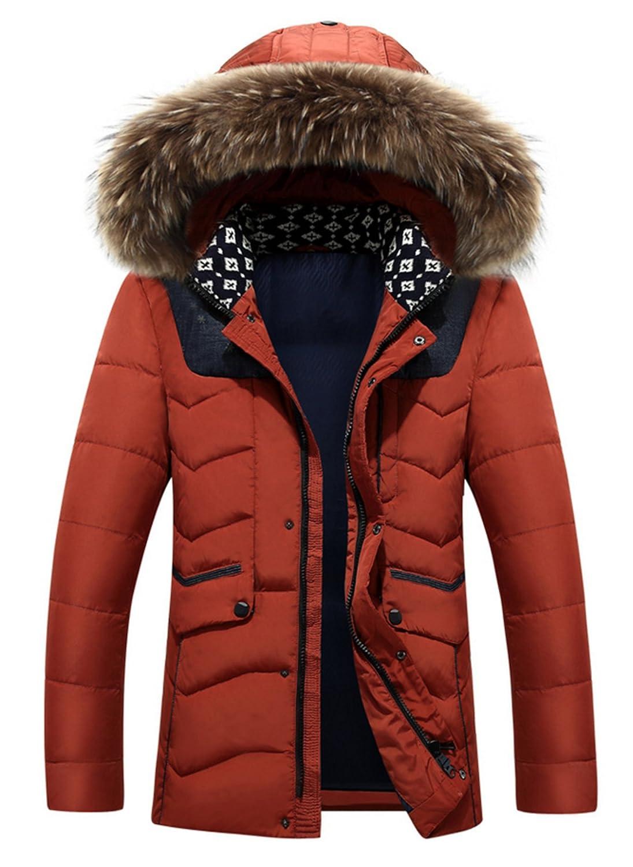 BININBOX® Herren Fashion Daunenmantel Daunenjacke Parka mit Fellkapuze Wintermantel bestellen