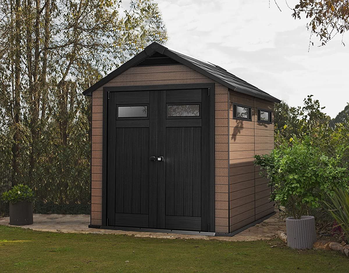 Keter Fusion Large 7.5 x 9 ft. Wood & Plastic Outdoor Yard Garden Composite Storage Shed
