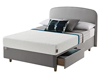 Studio by Silentnight Curve Bedframe with 2 Drawers and Medium Mattress, Wood, 4-Piece - King, Grey