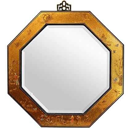 Oriental Furniture Elegant Asian Style Accents, 24-Inch Ming Design Gold Leaf Hexagonal Wall Mirror
