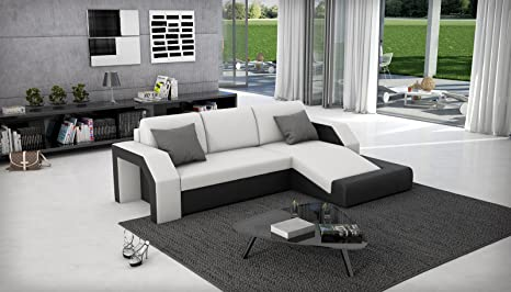 SAM® Ecksofa Milagro 281 x 145 cm in weiß schwarz in einem futuristischen Design verfugt uber Strauraum pflegeleichte Oberfläche Lieferung mit einer Spedition zerlegt