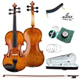 TLY Acoustic Professional Violin Handmade Wooden Outfit Beginner Pack for Student, Size 3/4 (Color: Natural, Tamaño: 3/4 Size)