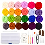 Fuyit Wool Roving 24 Colors Needle Felting Wool Set Felt Tools Needle Felting Starter Kit Wool Fibre Hand Spinning DIY Craft Materials (Color: 24 Colors)
