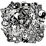 Riao-Tech 100pcs Rock Punk Music Band Stickers, Black and White Vintage Laptop Bicycle Luggage Guitar Patches Skateboard Vinyl Sticker (Color: Rock&Roll)
