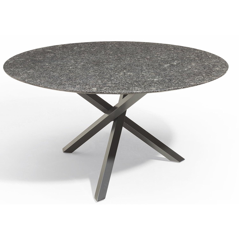 Studio 20 Gartentisch Gigi Granitplatte rund ø 140 cm Outdoortisch Granittisch Tischplatte Pearl black satiniert