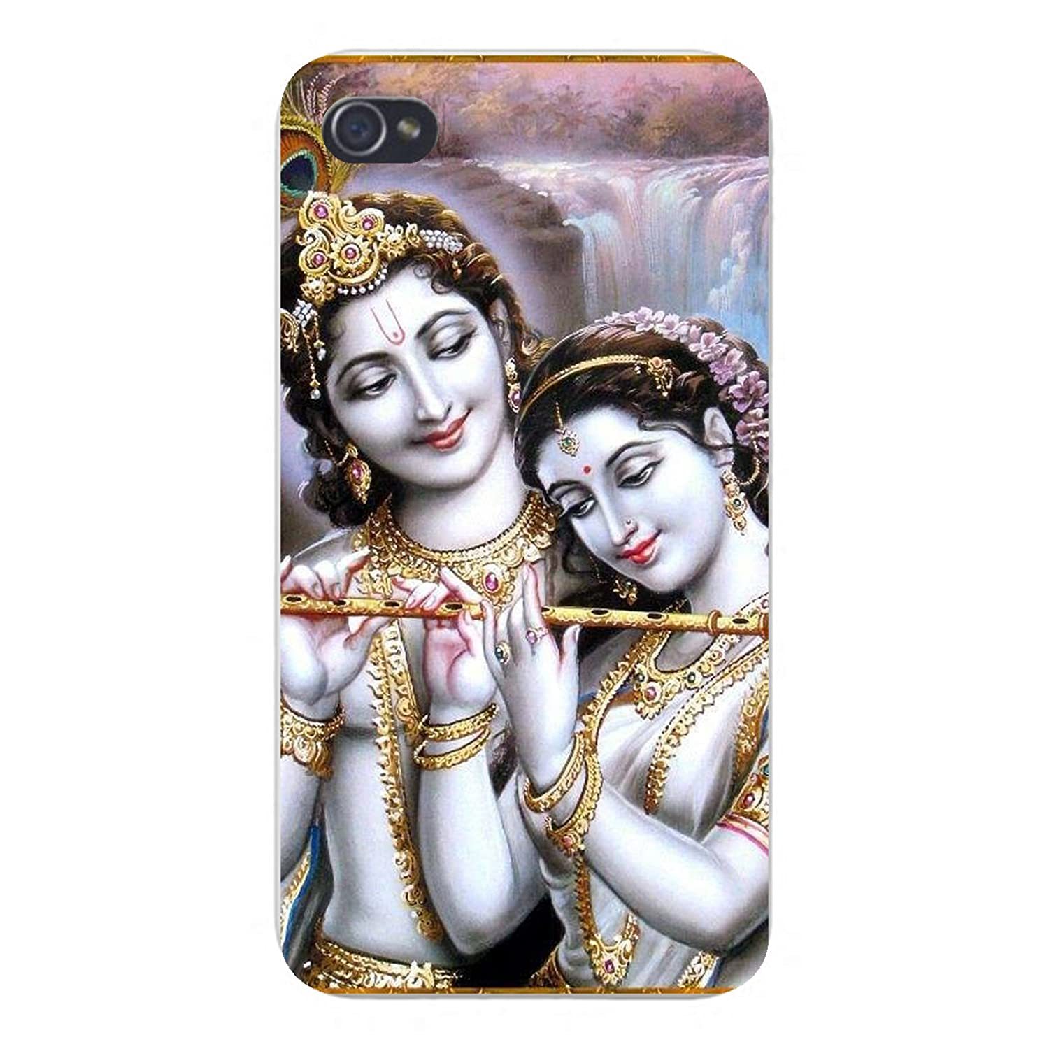 Apple Iphone Custom Case 4 4s Snap on - Lord Radha Krishna Flute Instrument Hindu Deity