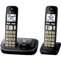 Panasonic KX-TGD222M 2 Handsets DECT 6.0 Expandable Cordless Phone with Digital Answering Machine