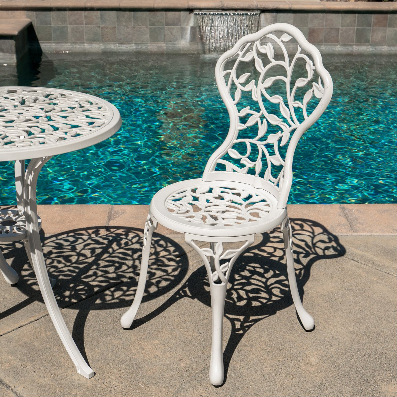 Belleze Outdoor Patio Furniture Leaf Design Bistro Set in Antique White 3
