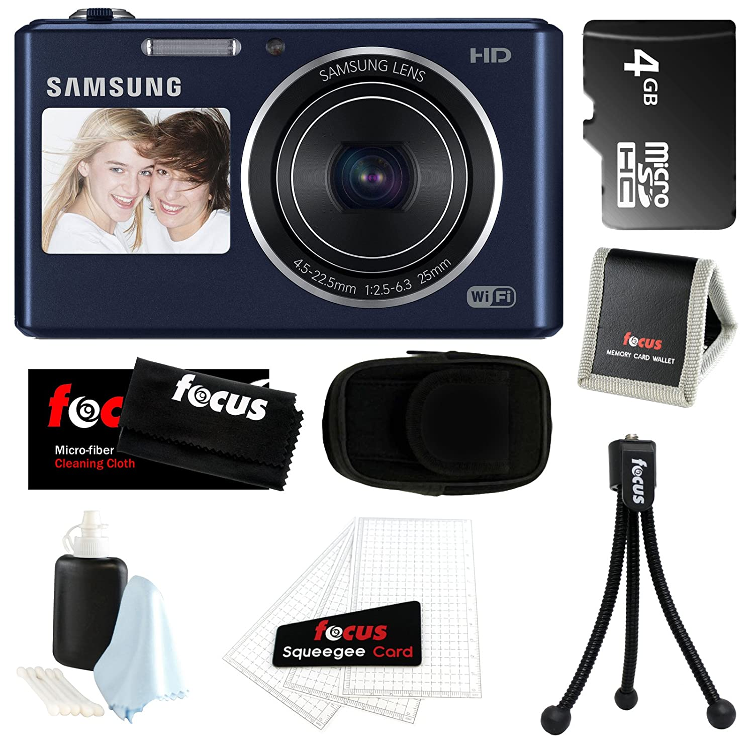 Samsung DV150F 16.2MP Dual-View Smart Camera w/ Built-in Wi-Fi in Cobalt Black + 4GB MicroSD HC Memory Card + More at Sears.com