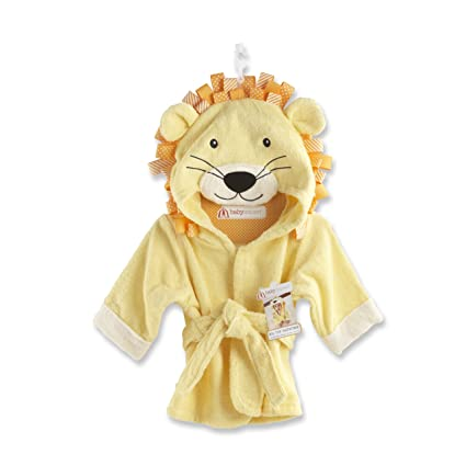 Baby Aspen, Big Top Bath Time Lion Hooded Spa Robe, Yellow, 0-9 Months