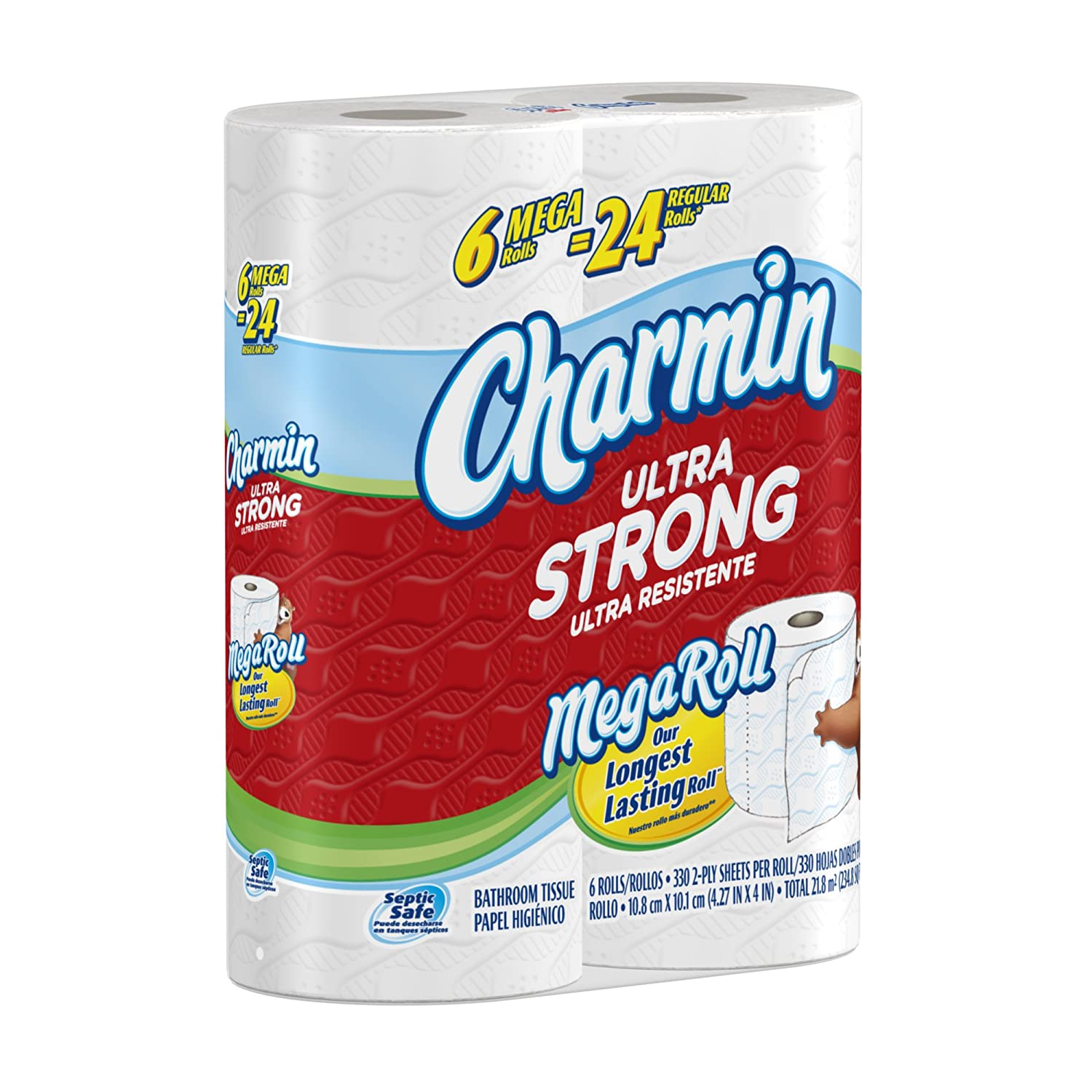Charmin Ultra Strong Mega Toilet Paper Rolls, 6 Count (Pack of 3) $18.18