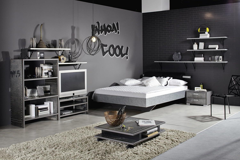 Jugendzimmer mit Bett 140 x 200 cm Industrial-Print-Optik/ graphit günstig bestellen
