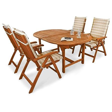 Indoba IND-70068-BASE5 plus IND-70411-AUHL Serie Bali Gartenmöbel Set, 9-teilig aus Holz, Eukalyptus/ Beige, 220x110x74 cm