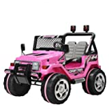 Uenjoy Kids Power Wheels 12V Ride on Car Electric Car 2 Speeds with Remote Control/Leather Seat/UV Lights Pink (Color: Jeep Pink)