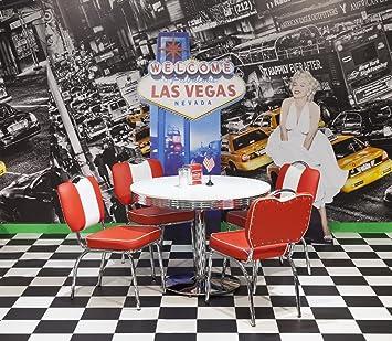 Bistrogruppe American Diner Paul King2 5tlg in rot weiß