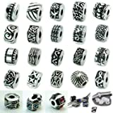 Ten Antique Silver Clip Lock Bead Charms with Rubber Stopper O-rings
