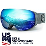 WildHorn Outfitters Roca Ski Goggles & Snowboard Goggles- Premium Snow Goggles Men, Women Kids. Features Quick Change Magnetic Lens System Integrated Clip Lock. (Color: Stone Gray / Ice Blue, Tamaño: Adult)