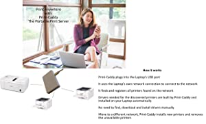 Print-Caddy: Portable Network Print Server Ethernet or Wireless via PC. Upto 10 printers. Automatic Printer Driver Install. Most printer models supported (Color: White, Tamaño: 3 in x 2 in x 0.5 in)