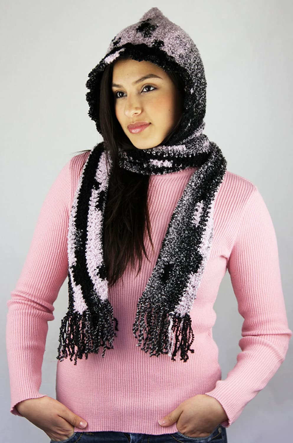 Handmade Soft Acrylic Vintage Pink and Black Scarf and Hat (Crocheted By Hand)