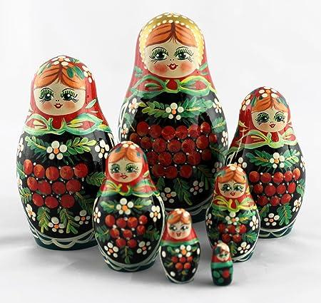 Poupées matriochka avec Rowan berry, mignon cadeaux russe art jouets 7pc