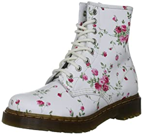 white and pink rose flower pattern combat boots - Dr. Martens Women's shoes