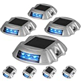 Happybuy Driveway Lights 8-Pack Solar Driveway Lights Bright Blue Solar Deck Lights Outdoor Waterproof Wireless Dock Lights 6 LEDs for Deck Dock Driveway Path Warning Garden Walkway Sidewalk Steps (Color: Blue, Tamaño: 8-Pack)