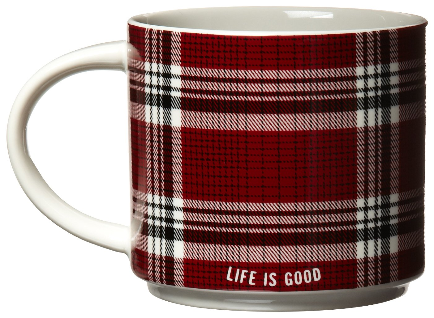 Life is good Peace/Plaid Stack-Happy Mug (Night Black)