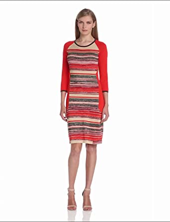 Evolution by Cyrus Women's 3/4 Sleeve Crew Neck Space Dye Dress with Lurex, Warm Colorway, X Large