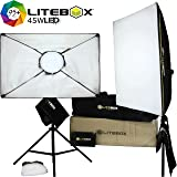 LITEBOX | LED Light Kit for Photography & Video - Dimmable 5500K Light Panels w/ Removable Softbox, Tripod Stands, Diffusers, Travel Bag, and Quick Start Guide - (Set of 2)
