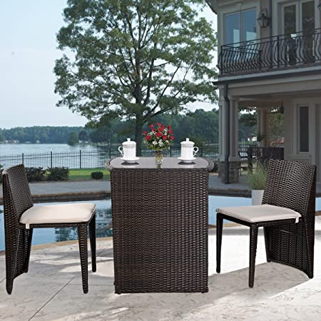 This Striking Three Piece Patio Set Boasts A Modern Design That Is Sure To  Become The Focal Point Of Your Backyard Oasis. It Comes Complete With A  Table And ...