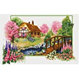 TINMI ATRS DIY Stamped Cross Stitch Landscape Kits Thread Needlework Embroidery Printed Pattern 11CT Home Decoration Four Seasons (Spring) (Color: spring)