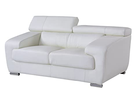 Global Furniture Loveseat with Headrest with Function, White